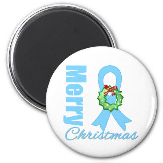 Prostate Cancer Merry Christmas Ribbon 2 Inch Round Magnet