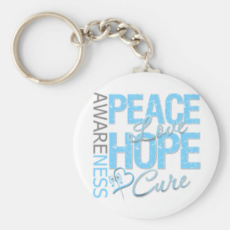 Prostate Cancer Peace Love Cure Keychain