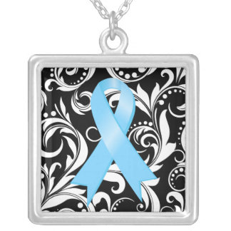 Prostate Cancer Ribbon Deco Floral Noir Necklaces