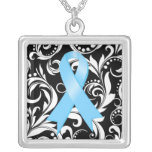 Prostate Cancer Ribbon Deco Floral Noir Necklaces