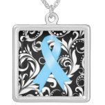 Prostate Cancer Ribbon Deco Floral Noir Square Pendant Necklace