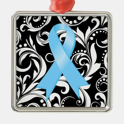 Prostate Cancer Ribbon Deco Noir Square Metal Christmas Ornament