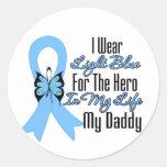 Prostate Cancer Ribbon Hero My Daddy Round Stickers