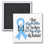 Prostate Cancer Ribbon Hero My Husband 2 Inch Square Magnet