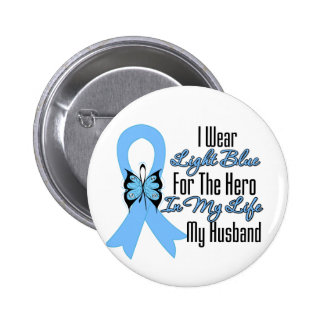 Prostate Cancer Ribbon Hero My Husband Button