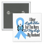 Prostate Cancer Ribbon Hero My Husband Buttons