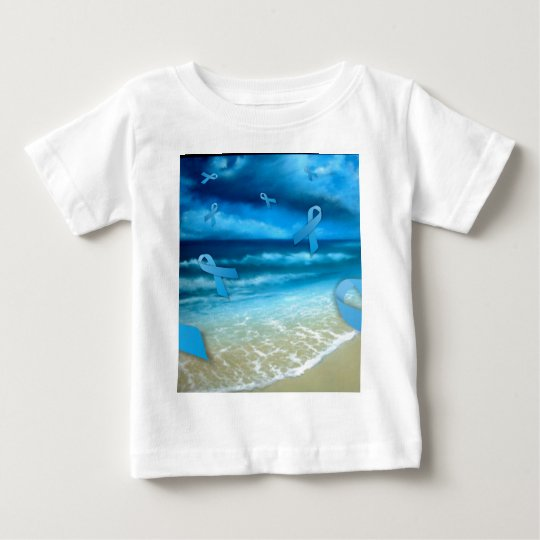 Prostate Cancer Ribbons Floaing Over the Beach Baby T-Shirt