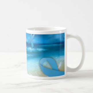 Prostate Cancer Ribbons Floaing Over the Beach Coffee Mug