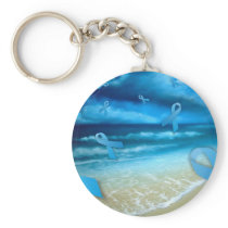 Prostate Cancer Ribbons Floaing Over the Beach Keychain