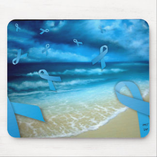 Prostate Cancer Ribbons Floaing Over the Beach Mouse Pad