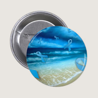 Prostate Cancer Ribbons Floaing Over the Beach Pinback Button