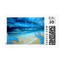 Prostate Cancer Ribbons Floaing Over the Beach Postage