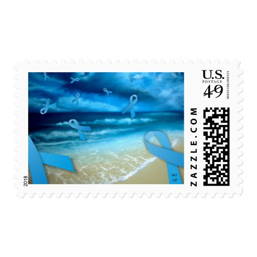 Prostate Cancer Ribbons Floaing Over the Beach Stamp