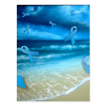 Prostate Cancer Ribbons Floaing Over the Beach Postcard
