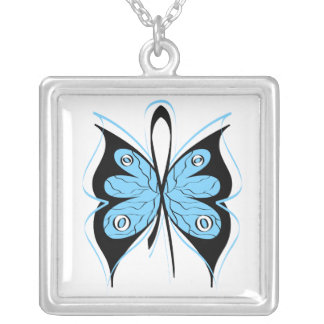 Prostate Cancer Stylish Butterfly Awareness Ribbon Square Pendant Necklace