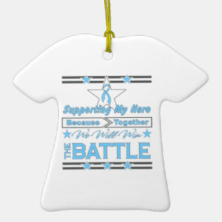 Prostate Cancer Supporting My Hero Double-Sided T-Shirt Ceramic Christmas Ornament