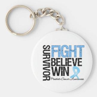 Prostate Cancer Survivor Fight Believe Win Motto Keychains