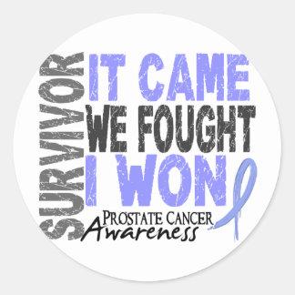 Prostate Cancer Survivor It Came We Fought I Won Classic Round Sticker