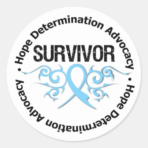 Prostate Cancer Survivor Tribal Ribbon Round Stickers