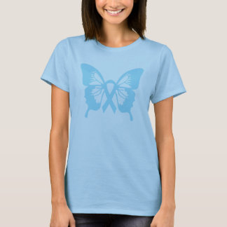 Prostate Cancer t-shirt Blue Butterfly & ribbon