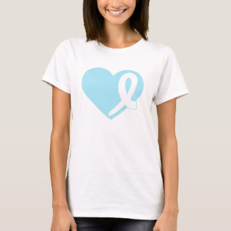 Prostate Cancer t-shirt with Blue Heart and Ribbon