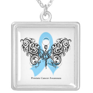 Prostate Cancer Tribal Butterfly Ribbon Square Pendant Necklace