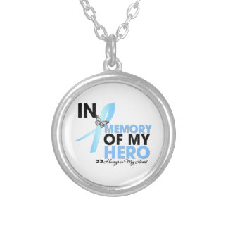 Prostate Cancer Tribute In Memory of My Hero Round Pendant Necklace