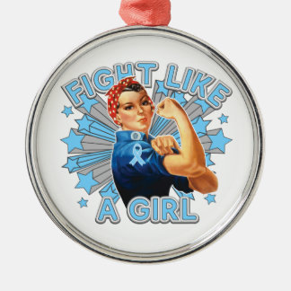Prostate Cancer Vintage Rosie Fight Like A Girl Round Metal Christmas Ornament