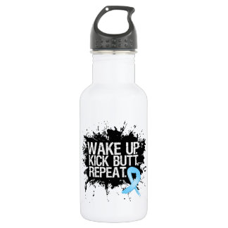 Prostate Cancer Wake Up Kick Butt Repeat 18oz Water Bottle