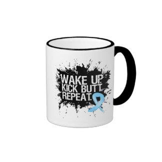 Prostate Cancer Wake Up...Kick Butt...Repeat Ringer Coffee Mug