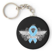 Prostate Cancer Winged SURVIVOR Ribbon Keychain