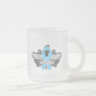 Prostate Cancer Winged SURVIVOR Ribbon 10 Oz Frosted Glass Coffee Mug
