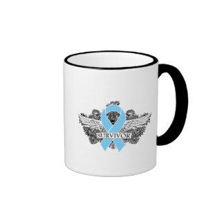 Prostate Cancer Winged SURVIVOR Ribbon Ringer Coffee Mug