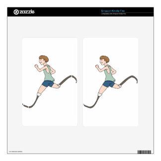 Prosthetic Legged Runner Cartoon Kindle Fire Decals