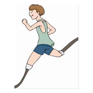 Prosthetic Legged Runner Cartoon Postcard