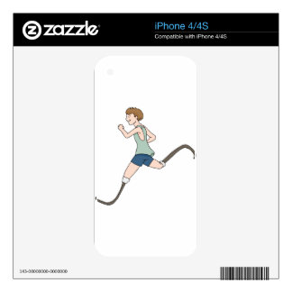 Prosthetic Legged Runner Cartoon iPhone 4S Decals
