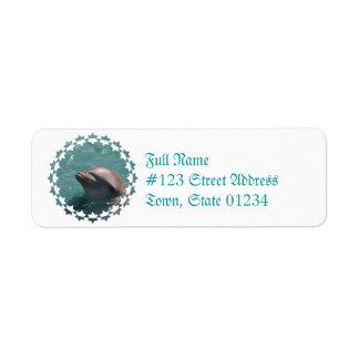 Protagonizar etiquetas de correo de un delfín etiqueta de remitente
