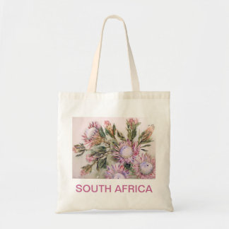 Protea design with pink lettering bags