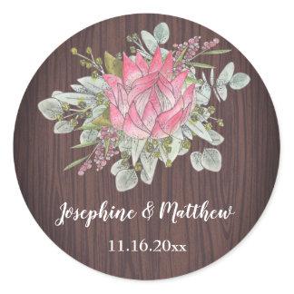 Protea Eucalyptus Foliage Wood Rustic Wedding Classic Round Sticker