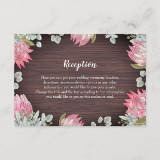 Protea Eucalyptus Foliage Wood Rustic Wedding Enclosure Card