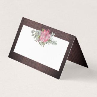 Protea Eucalyptus Foliage Wood Rustic Wedding Place Card