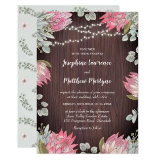 Protea Eucalyptus Lights Wood Rustic Wedding Invitation