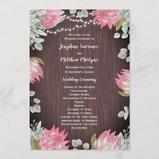 Protea Eucalyptus Lights Wood Rustic Wedding Program