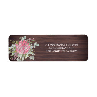 Protea Eucalyptus Wood Rustic Wedding Address Label