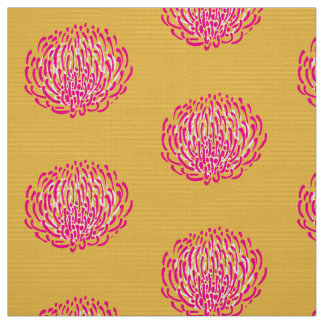 Protea flower print: yellow, pink, white fabric
