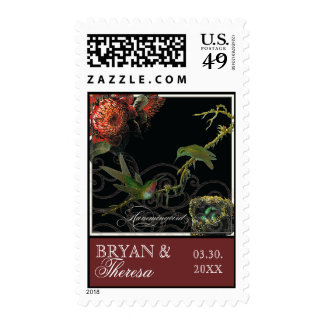 Protea Hummingbird Red Cream Save the Date Postage
