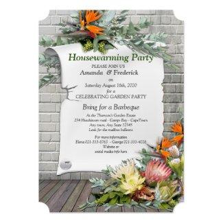 Protea -  Strelitzia Flower Houswarming Party Invitation