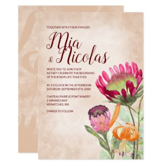 Proteas and Lilies Wedding Invitation