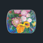 """Proteas, Tulips and Roses Pill Box, Stash Box Jelly Belly Candy Tin<br><div class=""""desc"""">Painting of Proteas,  Tulips and Roses on a nice jelly bean filled candy tin that makes a good pill box or stash box.</div>"""