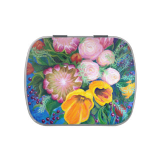 Proteas, Tulips and Roses Pill Box, Stash Box Jelly Belly Candy Tins